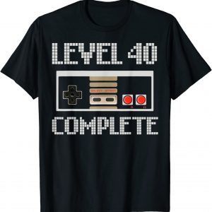 Video Game Controller Level 40 Complete 40th Birthday Gamer T-Shirt
